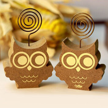 1x Cute animals owl hedgehog photos clip&photo holder wooden message note clip pictures photo holder Home decor Arts crafts gift