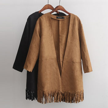 Plain Long-Sleeve Fringed Suede Coat