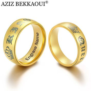 Cool AZIZ BEKKAOUI 3 Colors DIY King Queen Couple Rings with Crown Engrave Name Stainless Steel Rings Wedding Bands DropshippingAT_93_12