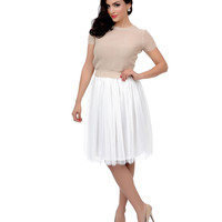White High Waisted Tulle Ballerina Swing Skirt