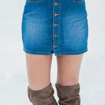 Country Calling Denim Button Up Skirt (Medium Wash)