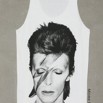 David Bowie Lightning Bolt White Tank Top Singlet Vest Tunic Sleeveless Music Singer Women Shirt Tee Indie Rock T-Shirt Size S-M