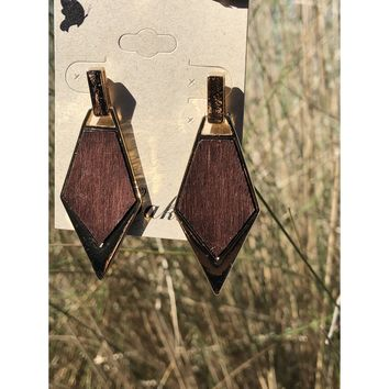 Wood and gold arrow post earrings