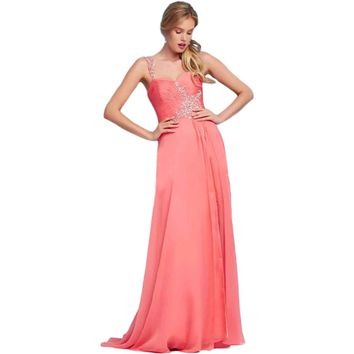 Mac Duggal Womens Chiffon Embellished Formal Dress