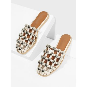 Closed Toe Beaded Cut Out Flats