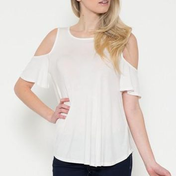 Ivory Tunic Top Cold Shoulder Shirt Beige: S/M/L/XL