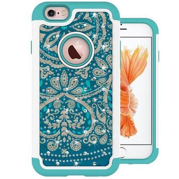 CREYRQ5 iPhone 6s Plus Case, MagicSky [Shock Absorption] Studded Rhinestone Bling Hybrid Dual Layer Armor Defender Protective Case Cover For iPhone 6 Plus (2014) / iPhone 6s Plus (2015) - Flower