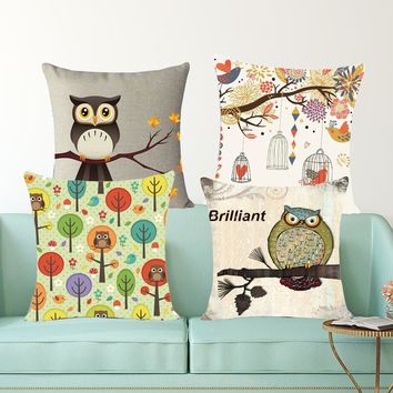 High quality print home decorative pillow beauty owl birds Cushion Throw Pillow Vintage Cotton Linen Square Pillowcase MYJ-E5