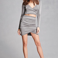 Metallic Sheen Ruched Skirt