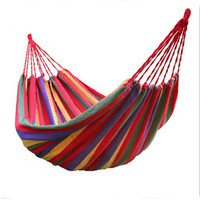 Thick Cotton Hammock Travek Summer Camp Outdoor Garden Hanging Bed Swing Canvas Stripe Rainbow Hamak big size 200*80cm