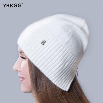 CREYWQA 2016 newest fashion elegant pure ribbon striped cashmere Ms. hat letters  beanies gorros
