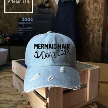 Mermaid Hair Dont Care Baseball Cap, Denim Cap, Jean Cap, Flawless Hats, Hipster Cap, Girlfriend gift, Low-Profile Baseball Cap Baseball Hat