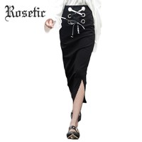 Rosetic Gothic Bodycon Skirt Black Asymmetric Pleated Casual Sexy Maxi Skirt Lace-Up Empire Pencil Women Goth Long Bodycon Skirt