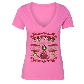 XtraFly Apparel Women's Tattoo Parlor Ink Inked Novelty Gag V-neck Short Sleeve T-shirt