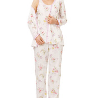 Carole Hochman Mixed Flower Print Three Piece Pajama Set
