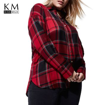 kissmilk 2018 Plus Size Sexy Plaid Backless lace up Women Blouses Turn-down Collar Bow Female Big Size Lady Casual Shirts Tops