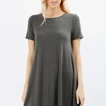 Women's Swing Tunic Dress With Pockets Charcoal Gray: S-M-L-XL