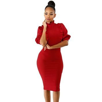Red Ruffle High Neck Lantern Sleeve Dress