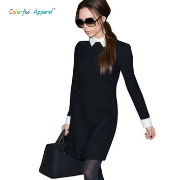 [C-377] 2013 Fashion Star Style Victoria Beckham Dress Slim Elegant Turn-down Collar Long Sleeve Black Dresses for Women