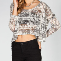 Full Tilt Elephant Womens Dolman Crop Top Multi  In Sizes