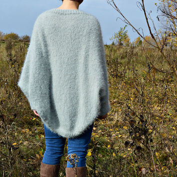 Gray cocoon cardigan hand knitted of fluffy soft yarn • cozy batwing oversized cardigan • available 25 colors • loose sweater by KnittySunny