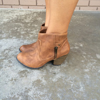 Brown Heeled Mini Boots