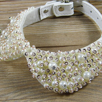 Fashion Pearl Rhinestone Crystal Necklace for Pet Cat Collar Dog Queen Luxury Collar Princess Pet Pearl Necklace Bow Tie