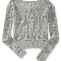 Aeropostale Womens Sheer Cropped Sweater -