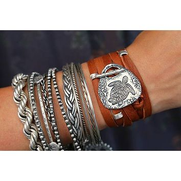 Sea Turtle 5x Leather Wrap Bracelet