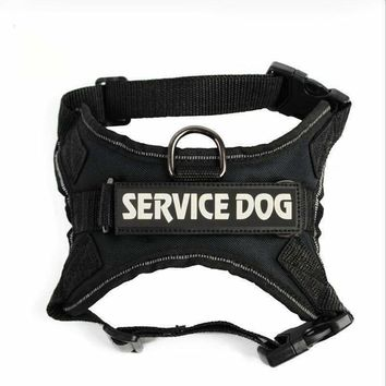 Reflective Big Dog Police  Harness Nylon Medium Dog Training Vest With Handle Breathable Mesh Harness Pet Chest Strap&Leash