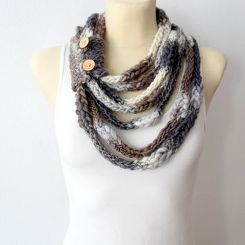 Knit Infinity Scarf - Gray Knitted Shawl - Infinity Neckwarmer - Handknit Snood - Knit Hood - Winter Thick Scarf - Cowl Scarf