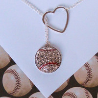 Baseball Lariat Necklace with Rhinestones and Heart, handmade jewelry