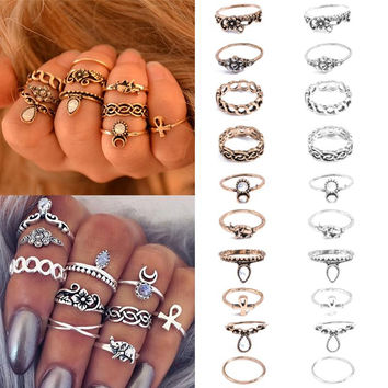 Bohemian 10pcs Lucky Stackable Midi Rings Set - Knuckle Rings