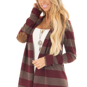 Wine and Mocha Thick Striped Cardigan with Elbow Patches