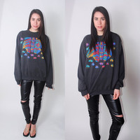 Vintage 1990s oversized soft black faded ethnic tribal ARMADILLO color block graphic print long sleeve sweatshirt. XL XXL