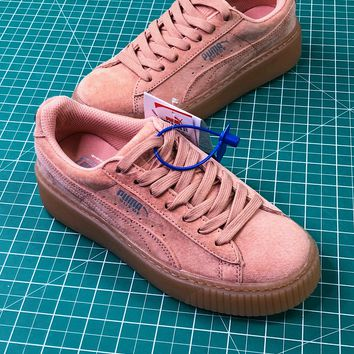 Rihanna X Puma Fenty Suede Cleated Creeper Pink Sneakers - Best Online Sale