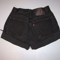 Vintage Black Levi's High Waisted Cut Off Denim Jean Shorts 27""