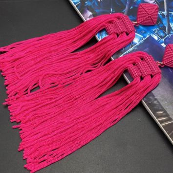 "5"" red fringe tassel fabric boho earrings pierced"