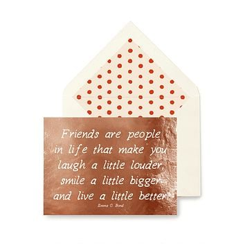 Min. Case Pack // Friends Are People In Life Greeting Card, Single Folded Card or Boxed Set of 8