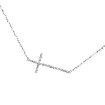 Sideway Cubic Zirconia Cross on a Chain Necklace (14K Rose Gold)