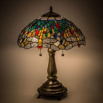 "Meyda Lighting 119650 Dragonfly Tiffany Style Stained Glass Table Lamp 16"" Shade"