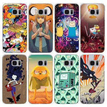 G392 Adventure Time Cute Transparent Hard PC Case Cover For Samsung Galaxy S Note 3 4 5 6 7 8 9 Edge Plus