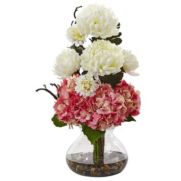 Artificial Flowers -Hydrangea And Mum In Vase No2 Silk Plant