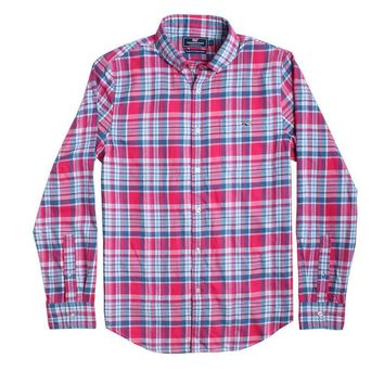 Custom Middleton Place Plaid Performance Flannel Slim Tucker Shirt in Rose Pink by Vineyard Vines
