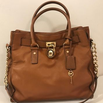 Authentic Michael Kors Large Hamilton Tote Bag in Luggage Tan Lock & Key