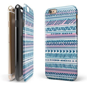 Pink to Blue Tribal Sketch Pattern iPhone 6/6s or 6/6s Plus 2-Piece Hybrid INK-Fuzed Case