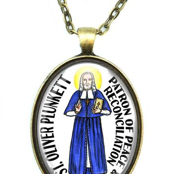 St Oliver Plunkett Patron Saint of Peace and Reconciliation Huge Pendant