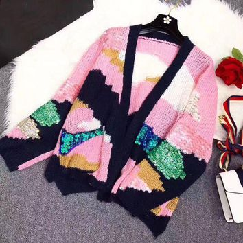 ONETOW Miu Miu' Women Fashion Sequin Multicolor Long Sleeve Loose V-Neck Knit Cardigan Sweater Coat