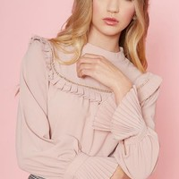 Erin Pink Blouse with Fagotting and Frill Bib Trim