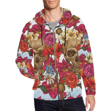 Skull & Roses Design 3 Men's All Over Print Full Zip Hoodie